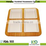 China supplier supply wooden bamboo fruit serving tray with four dishes