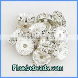 Wholesale 10mm Beads Spacers Rondelle Fashion Jewelry Basketball Wives Earrings Findings Pave White CZ Crystal Rhinestone