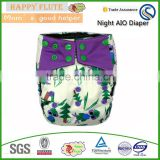 Happy Flute cloth diaper bamboo double row snaps colorful resuable baby muslin organic cloth diapers pul fabric for cloth diaper