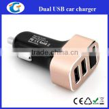 Metallic car charger with two USB ports with Blue Color Voltmeter