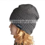 Black cashmere beanie bluetooth hats with headphones