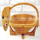 Foldable elephant shape bamboo fruit basket