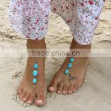 Click to view larger image and other views Multi-Chain-Gypsy-Ethnic-Turquoise-Bead-Waterdrop-Beach-Anklet-Ankle-Bracelet Multi