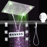 Bath&Shower Sets 304 stainless steel led shower With Hand Panel water Mixer and brass body jets