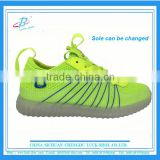 Flyknit +PU material led light shoes for men and women chirldren cheap price own-designed