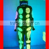 Full color change led stage costume robot with helmet,DMX wireless controlled led suit,luminous costume for performancer