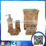 Wholesale hotel luxury classic gold marble style square liquid soap dispenser for resin bathroom accessories sets