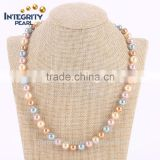 8mm round multi colors fashion latest design imitation shell pearl necklace