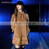 Wholesale Korean style brown natural mink fur winter coat for women