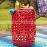 Metal Round Drum Shape Industrial Stool Garden Stool Red Color Stool & Side Table
