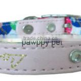 Embroidery Rhinestone Cat Collar,PU Leather & Canvas Backing with bell