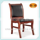 Leather wood dining chair