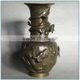 Chinese Traditional Dragon Antique Bronze Brass Flower Vase for Decoration