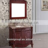 American Hot Sale Mirrored Solid Wood Bathroom Furniture/High Quality Marble Top Sink/Vanity Luxury Washbasin Cabinet Design