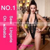 Hot sales Fashionable sexy girl leather lingerie sexy leather pvc lingerie very sexy hot lingeries