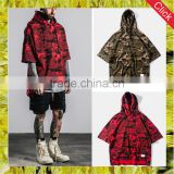 Camo short bat sleeve pullover sweater hoodie for mens boyfriend loose fit cotton hoodies streetwear