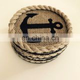 "rope Coasters With Anchor 4"" round"