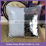 SQP022K fancy silver white double sided sequin fabric decorative pillow case