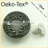 antique silver color customized jeans tack button