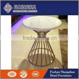 Italian hotel used furniture white round faux marble top coffee table for sale                                                                                                         Supplier's Choice