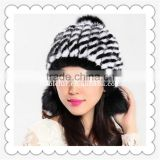 elegant lady mink fur pompom hat with two baggy fur ball around ears