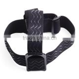 Flexible A Quality 3 Line Anti Slide Rubber Sports Camera Head Strap Belt Mount Black Color