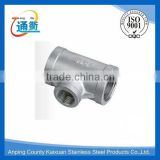 made in china casting female stainless steel pipe reduing tee