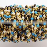 5 Feet Multi Mix Gemstone 2mm Smooth Rondelle Rosary Style Wire Wrapped Beaded Chain 24k Gold Plated Jewelry Making Bead