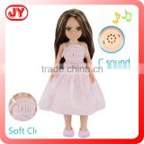 Pretty 18 inch american clothes doll girl with real hair vinyl head blow mould body with EN71