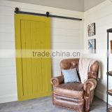Elegent Top mounted solid wood sliding door full set hardware, green paint wooden single panel barn door