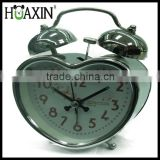 metal bell quartz analog heart shape desktop alarm clock for kid
