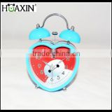 mini metal wrought heart shape twin bell decorative desktop time clock from Chinese electronic clock manufacture
