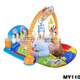 Non-toxic baby play gym mat with pedal piano cartoon gym mat with pedal piano crawl mat music pedal piano w/plastic hanging toys