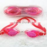 Unisex Fashionable Professional Design Mirrow Coating Silicone Swimming oggles with Automatic Buckle Red