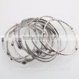 G71319401 Style Plus Layered Series Ancient Silver Anklet Hanging Bracelet Wholesale Skull Bracelet Bangle