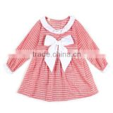 Little Spring Girls Dresses Fast shipping Summer kids fashion casual dress bow long sleeve princess dress kids clothes GZ F24