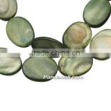 Freshwater Shell Beads Strands, Plating, Oval, Dyed, Green, Size: about 15mm wide, 20mm long, 4mm thick, hole:1mm, (SHEL-20X15-1