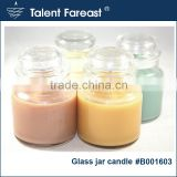 With lid colored paraffin wax clean glass jar candle with fragrance 5%