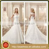 VDN31 Full Pearl Beaded Appliqued Formal Wedding Party Gown Cap Sleeve Floor Length Sheer Back Wedding Dress with Long Train