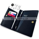 Leather Travel Wallet & Passport Holder Securely Holds Business Cards, Credit Cards,Boarding Passes & Notes
