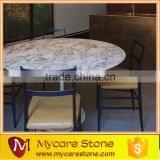 Arabescato white marble round dinning table top