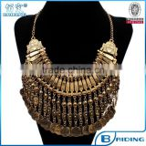 2015 latest design gold retro metal carving coin bohemian collar necklace body jewelry China wholesale