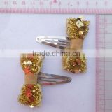 gold bow snap hair clips