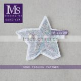 hot selling custom 3d star pattern sequin patch embroidery trim polyester material for wholesale