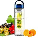 fruit infuser water bottle,plastic sport drinking bottle water bottle,plastic fruit juice bottles with blue cap