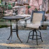 outdoor metal furniture cast aluminum round bar table and barstools set ceramic tabletop with parasol hole swivel sling barstool