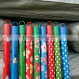 all colors 120X2.2cm PVC coated wooden broom mop handle stick with various design and all colors caps