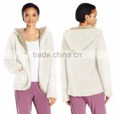 sherpa fabric reversible cardigan Jackets 100% Polyester Women's Pockets Hooded open front plush Sherpa Cardigan
