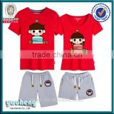 alibaba china OEM couple printing Tshirt with pants lovers suits summer bulk cotton printing short suits