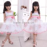 White flower children girldress,Wholesale children's boutique clothing Girls Dresses In stock ,Girls Birthday Party Dresses